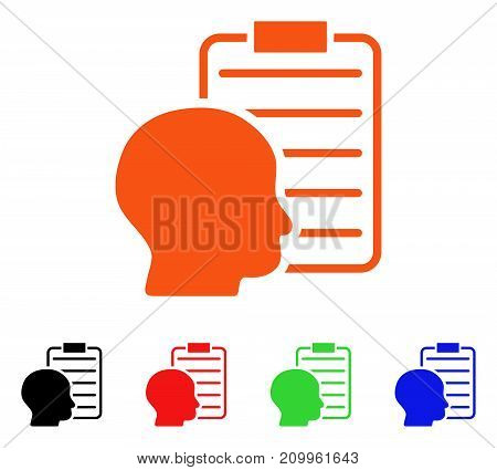 User Report Page icon. Vector illustration style is a flat iconic user report page symbol with black, orange, red, green, blue color variants. Designed for web apps and software interfaces.