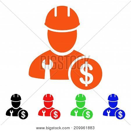 Worker Salary icon. Vector illustration style is a flat iconic worker salary symbol with black, orange, red, green, blue color variants. Designed for web apps and software interfaces.