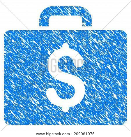 Grunge Accounting Case icon with scratched design and dust texture. Unclean vector blue Accounting Case pictogram for rubber seal stamp imitations and watermarks. Draft sign symbol.