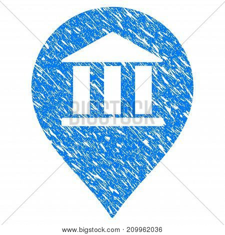 Grunge Bank Building Pointer icon with scratched design and dust texture. Unclean vector blue Bank Building Pointer pictogram for rubber seal stamp imitations and watermarks. Draft emblem symbol.