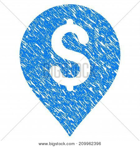 Grunge Banking Map Marker icon with scratched design and dust texture. Unclean vector blue Banking Map Marker pictogram for rubber seal stamp imitations and watermarks. Draft emblem symbol.