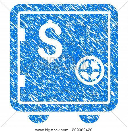 Grunge Banking Safe icon with scratched design and grungy texture. Unclean vector blue Banking Safe pictogram for rubber seal stamp imitations and watermarks. Draft emblem symbol.