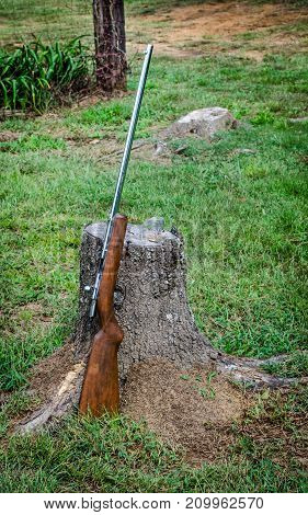 Rifle, 22 single shot, resting on a stump.  Gun used for sport hunting or target shooting.  Outdoor sport activity equipment.