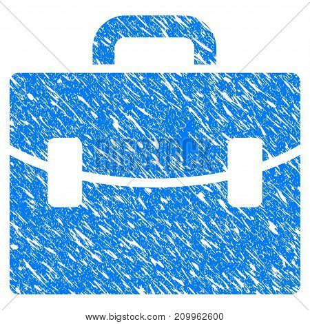 Grunge Case icon with scratched design and dust texture. Unclean vector blue Case pictogram for rubber seal stamp imitations and watermarks. Draft sticker symbol.