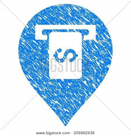 Grunge Cash Terminal Pointer icon with scratched design and scratched texture. Unclean vector blue Cash Terminal Pointer pictogram for rubber seal stamp imitations and watermarks. Draft sign symbol.