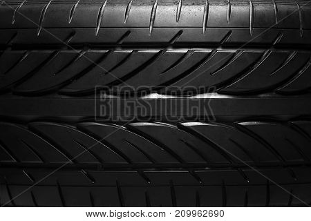 Summer car tire close-up. Background of the tire tread.