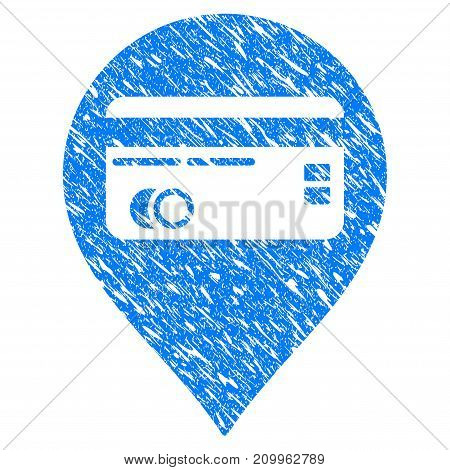 Grunge Credit Card Pointer icon with scratched design and dust texture. Unclean vector blue Credit Card Pointer pictogram for rubber seal stamp imitations and watermarks. Draft emblem symbol.