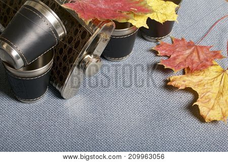 A Jar Lying On A Gray Fabric And Metal Glasses Covered In Leather. They Are Strewn With Fallen Autum
