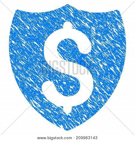Grunge Financial Shield icon with scratched design and unclean texture. Unclean vector blue Financial Shield pictogram for rubber seal stamp imitations and watermarks. Draft sign symbol.