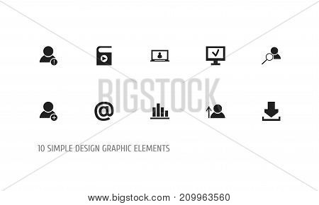 Set Of 10 Editable Network Icons. Includes Symbols Such As Account, Song List, Mail Symbol And More