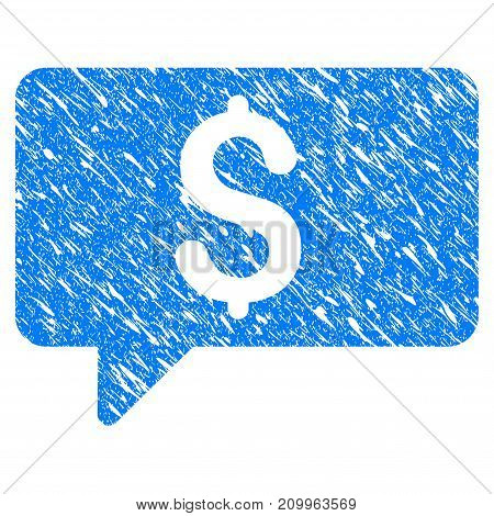 Grunge Money Message icon with scratched design and dust texture. Unclean vector blue Money Message pictogram for rubber seal stamp imitations and watermarks. Draft sticker symbol.