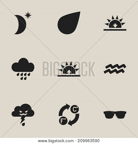 Set Of 9 Editable Climate Icons. Includes Symbols Such As Drip, Rainstorm, Eyeglasses And More