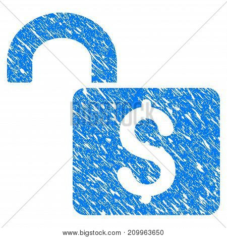Grunge Open Banking Lock icon with scratched design and dirty texture. Unclean vector blue Open Banking Lock pictogram for rubber seal stamp imitations and watermarks. Draft sticker symbol.