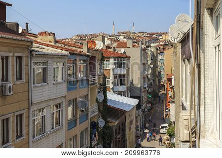 ISTANBUL, TURKEY - SEPTEMBER 10, 2017: This is an aerial view of the urban residential district Fatih.