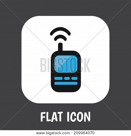 Vector Illustration Of Security Symbol On Remote Radio Flat Icon