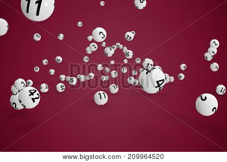 Falling lottery balls  against pink background