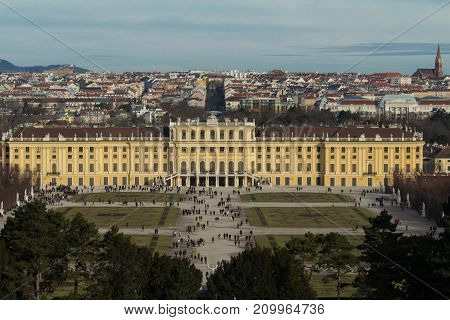 VIENNA, AUSTRIA - DECEMBER 10, 2016: Schonbrunn Palace is a former baroque imperial summer residence located in Vienna.