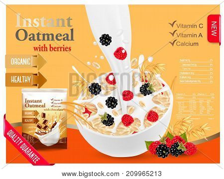 Instant oatmeal with berry advert concept. Milk flowing into a bowl with grain and berries. Vector.