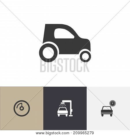 Set Of 4 Editable Vehicle Icons. Includes Symbols Such As Speed Display, Vehicle Wash, Car And More