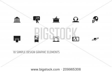 Set Of 10 Editable Education Icons. Includes Symbols Such As Museum, Phone Play, Basketball And More