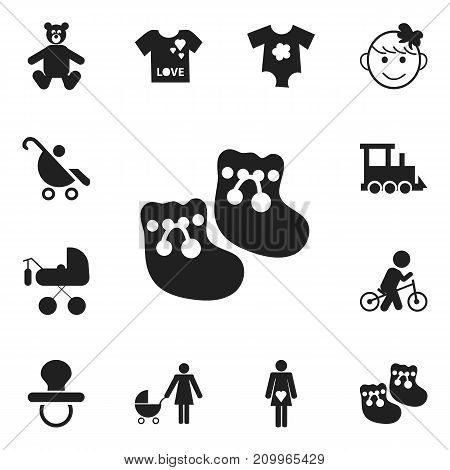Set Of 12 Editable Infant Icons. Includes Symbols Such As Carriage, Pram, Railway And More