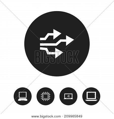 Set Of 5 Editable Notebook Icons. Includes Symbols Such As Portable Computer, Laptop, Universal Serial Bus And More