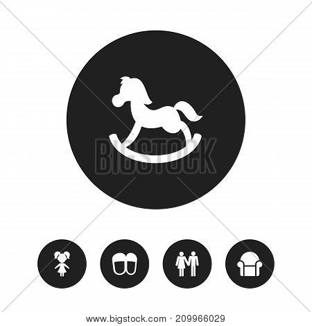 Set Of 5 Editable Folks Icons. Includes Symbols Such As Couple, Girl, Pony And More