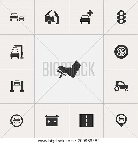 Set Of 13 Editable Car Icons. Includes Symbols Such As Highway, Vehicle Wash, Race And More