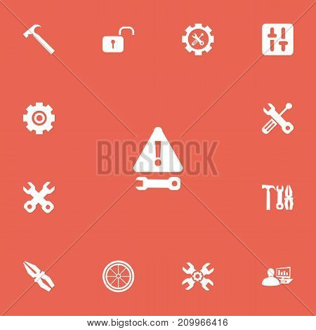 Set Of 13 Editable Tool Icons. Includes Symbols Such As Equalizer, Handle Hit, Warning