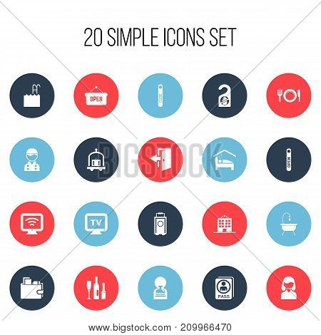 Set Of 20 Editable Plaza Icons. Includes Symbols Such As Employee, Wireless Tv, Shower And More