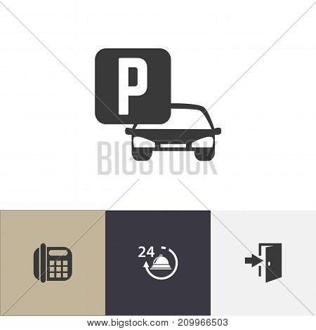 Set Of 4 Editable Motel Icons. Includes Symbols Such As Reception, Phone, Entry And More