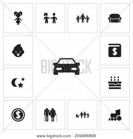 Set Of 13 Editable Family Icons. Includes Symbols Such As Oldsters, Kids, Midnight And More