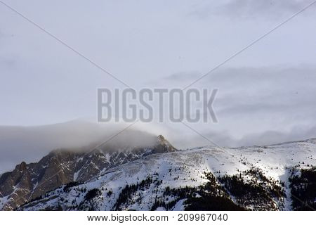 Cold Mountain with cloud and frost at the top