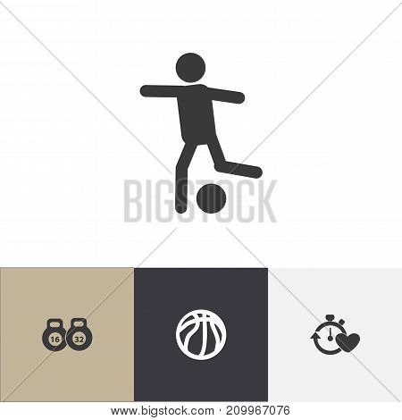 Set Of 4 Editable Healthy Icons. Includes Symbols Such As Health Time, Weightlifting, Basket Play And More