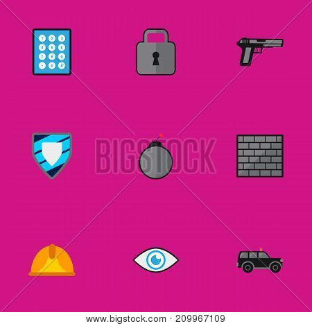 Set Of 9 Editable Security Flat Icons. Includes Symbols Such As Close, Protection, Barrier And More