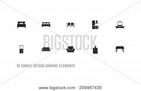 Set Of 10 Editable Interior Icons. Includes Symbols Such As Wooden Table, Restaurant Table, Tv And More