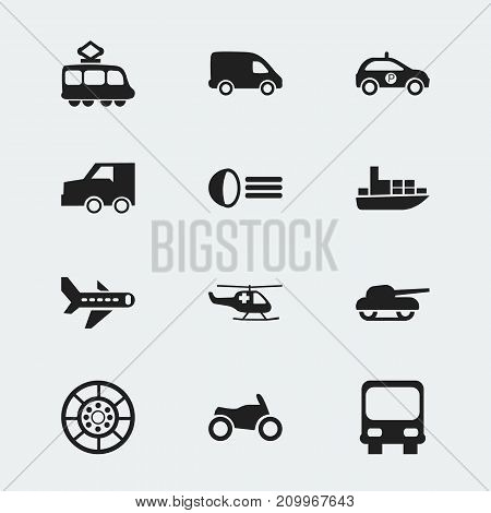 Set Of 12 Editable Shipment Icons. Includes Symbols Such As Autobus, Ship, Emergency Copter And More