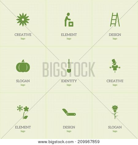 Set Of 9 Editable Gardening Icons. Includes Symbols Such As Stairway, Bugaboo, Spade And More