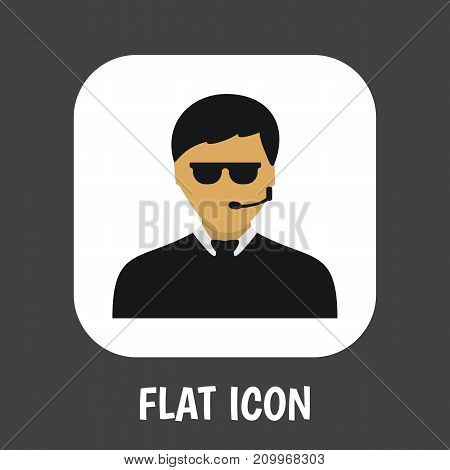 Vector Illustration Of Security Symbol On Security Guy Flat Icon