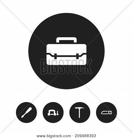 Set Of 5 Editable Equipment Icons. Includes Symbols Such As Turn-Screw, Hacksaw, Clamp And More