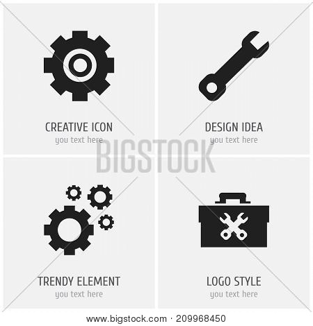 Set Of 4 Editable Service Icons. Includes Symbols Such As Gear, Cogwheels, Fixing Equipment And More