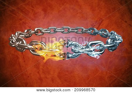 3d image of broken silver chain  against orange background