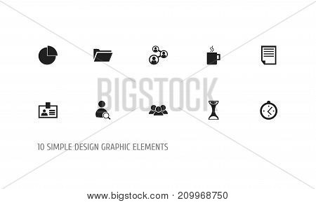 Set Of 10 Editable Office Icons. Includes Symbols Such As Sandglass, Dossier, Staff