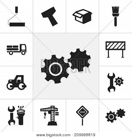 Set Of 12 Editable Building Icons. Includes Symbols Such As Pickup, Barrier, Handle Hit
