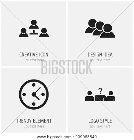 Set Of 4 Editable Business Icons. Includes Symbols Such As Partnership, Candidate, Staff