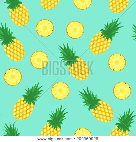 Seamless pattern with pineapples. Pineapple and slices of pineapple on blue background. Bright summer fruits illustration. Fruit design for fabric and decor.