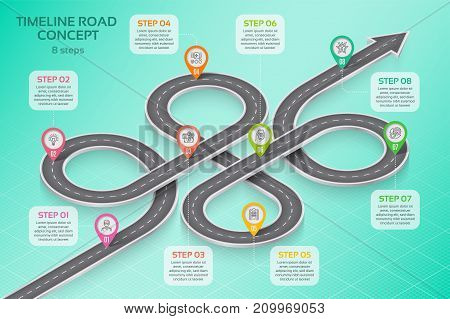 Isometric navigation map infographic 8 steps timeline concept. Vector illustration