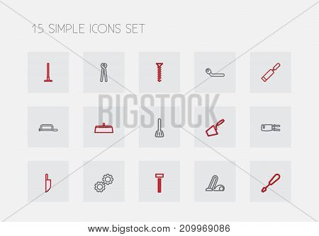 Set Of 15 Editable Apparatus Outline Icons. Includes Symbols Such As Bolt, Circle Spanner, Turn-Screw And More