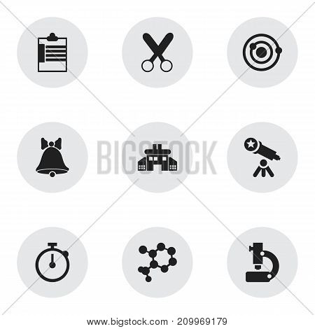 Set Of 9 Editable Knowledge Icons. Includes Symbols Such As Orbit, Jingle, Telescope And More