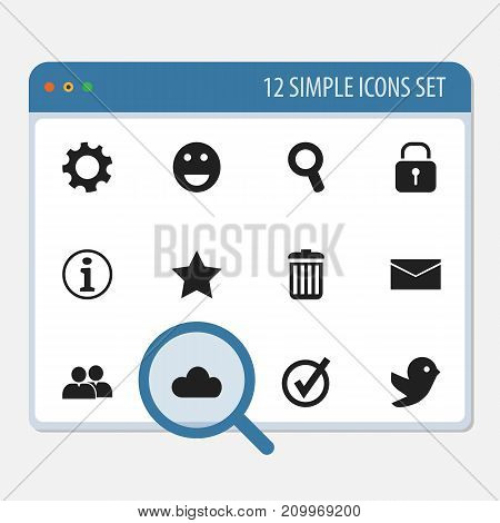 Set Of 12 Editable Internet Icons. Includes Symbols Such As Group, Bookmark, Security And More